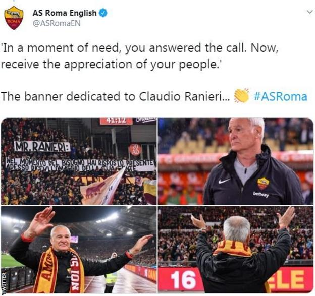 AS Roma tweet displaying translated messages to Claudio Ranieri