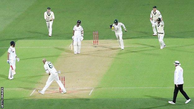 Virat Kohli is run out for 74