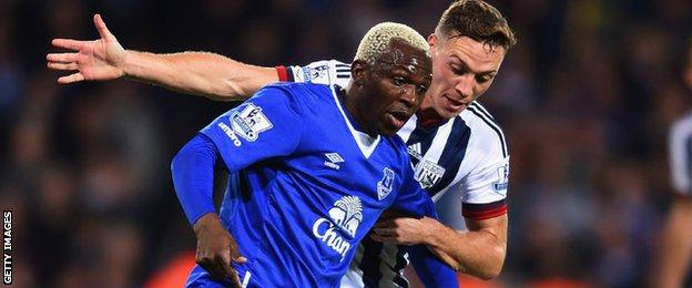 James Chester in action for West Brom against Everton's Arouna Kone