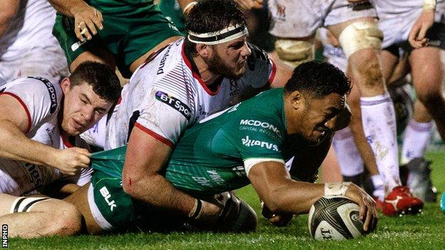 Bundee Aki goes over for Connacht's second try against Ulster in Galway