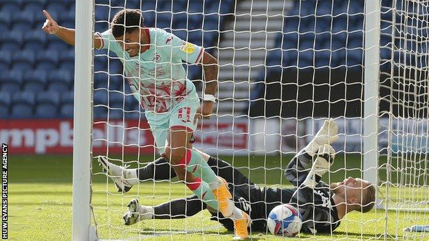 Morgan Gibbs-White scored the first league goal of his career to give Swansea victory at Preston on the opening day of the season