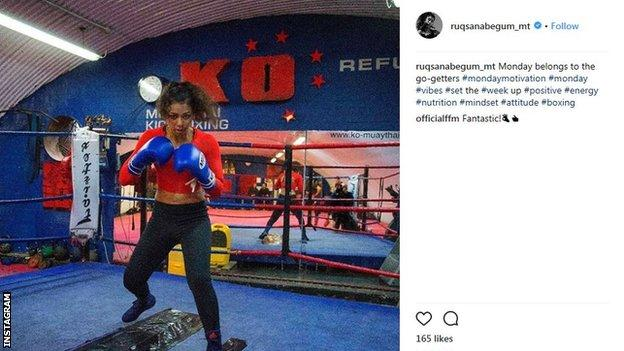 Former British kickboxing champion Ruqsana Begum on Instagram