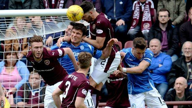 Hearts and St Johnstone players challenge for a header