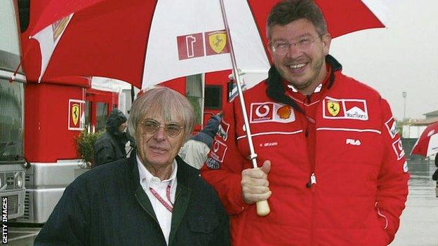 Bernie Ecclestone and Ross Brawn
