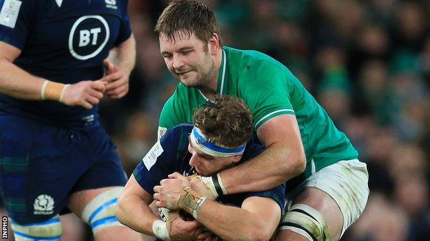 Iain Henderson gets to grips with Jamie Ritchie in the opening Six Nations win over Scotland