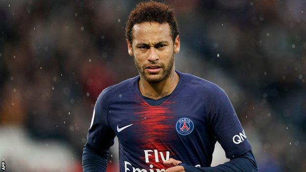 Neymar playing for Paris St-Germain