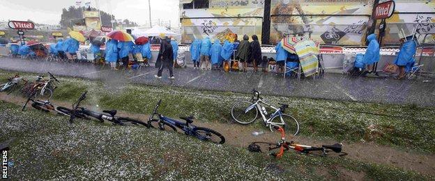 Sodden fans at the Tour de France