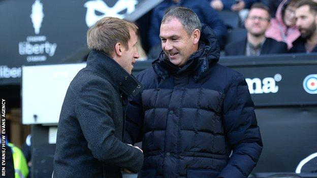 Swansea manager Graham Potter and Reading boss Paul Clement