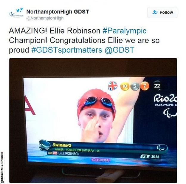 A tweet from Ellie Robinson's school, who screened her race at school to allow pupils to watch their classmate