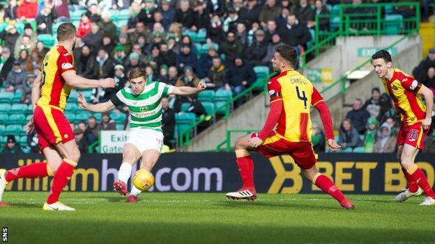 Celtic winger James Forrest scores against Partick Thistle