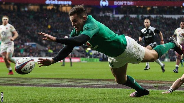 Jacob Stockdale finished the 2018 Six Nations with a record seven tries