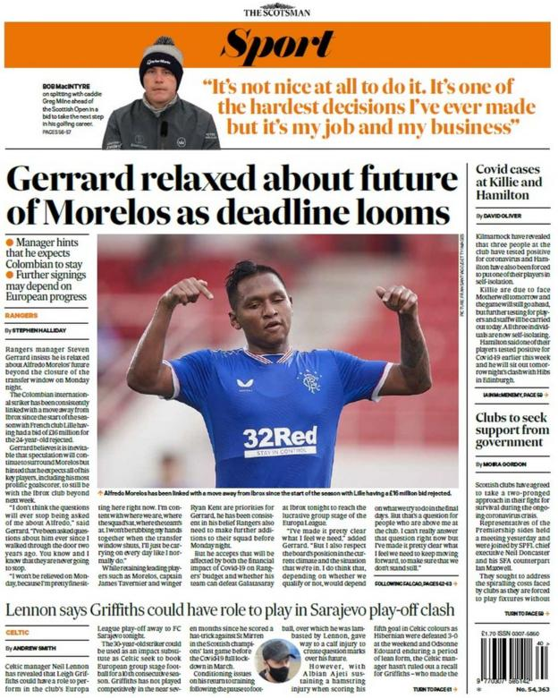 The back page of the Scotsman on 011020