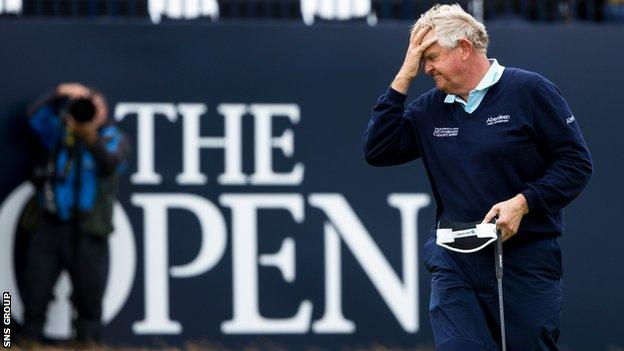Colin Montgomerie closed with a round of 76 at Royal Troon