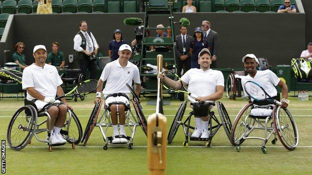 David Wagner, Dylan Alcott, Andy Lapthorne and Lucas Sithole before an quad exhinition match at Wimbledon earlier this year