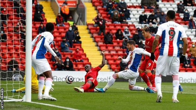 Sadio Mane scoring for Liverpool