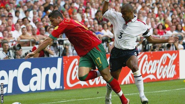 England's Ashley Cole and Portugal's Cristiano Ronaldo