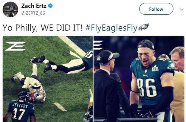 Zach Ertz tweets after winning the Super Bowl
