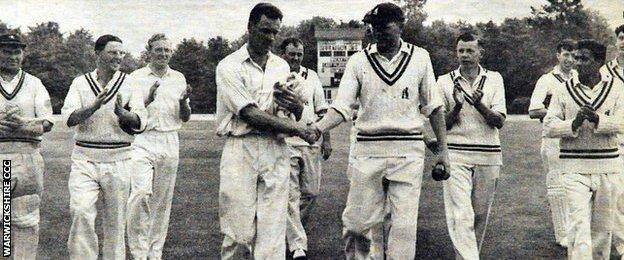 Jack Bannister is congratulated by Warwickshire captain MJK Smith after taking 10-41 against the Combined Services at the M and B ground in 1959