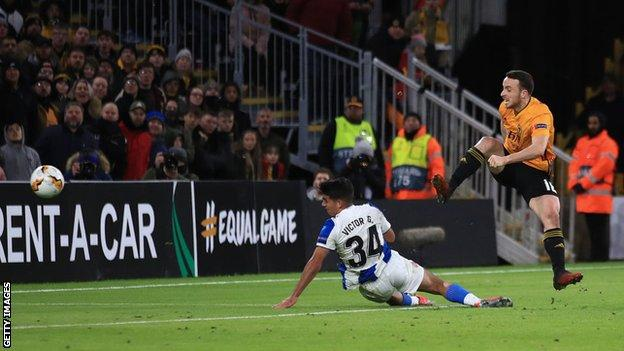 Diogo Jota scoring Wolves' third against Espanyol