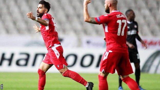 Jordi Gomez celebrates his long-range goal