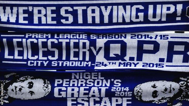 Leicester City scarves celebrating the club avoiding Premier League relegation in 2015