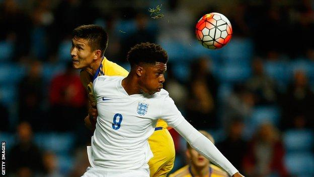 England's Chuba Akpom in action during a Euro Under-21 qualifier against Kazakhstan