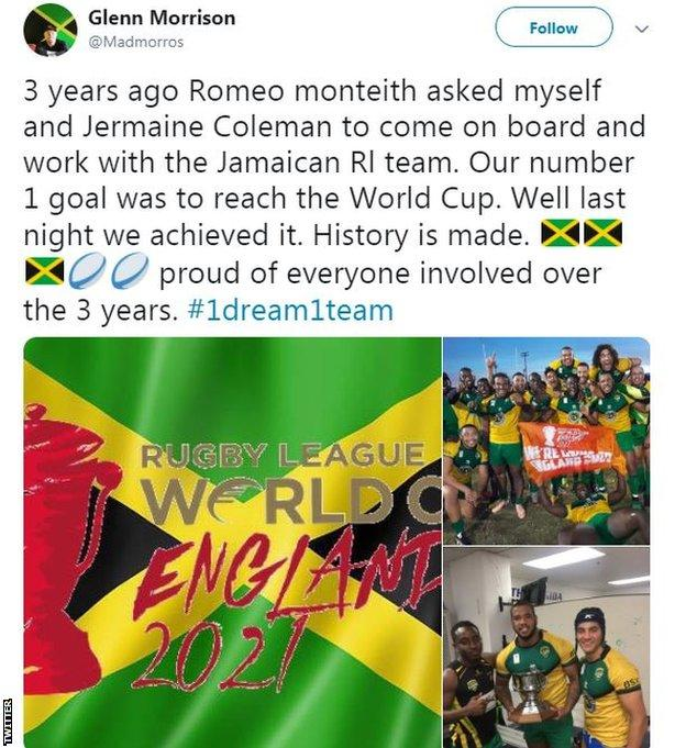 Glenn Morrison tweet about his pride at Jamaica qualifying for the Rugby League World Cup