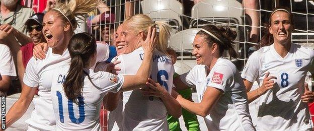 England celebrate during their win over Canada