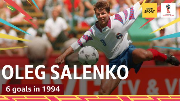 Oleg Salenko scores for Russia against Cameroon