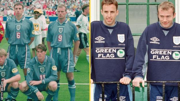Alan Shearer and Gareth Southgate in 1996