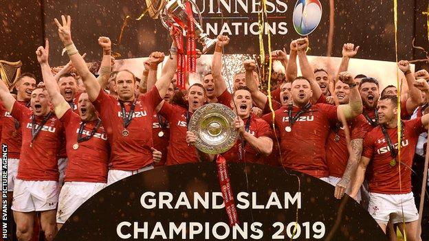 Wales celebrate winning the 2019 Six Nations Championship