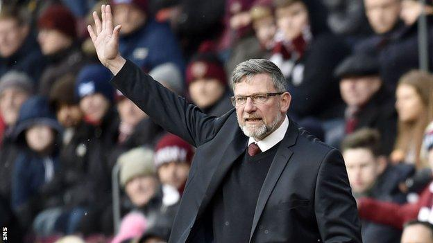 Hearts boss Craig Levein makes a point to his side