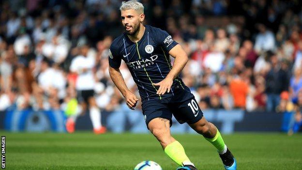 Sergio Aguero in action for Manchester City at Fulham
