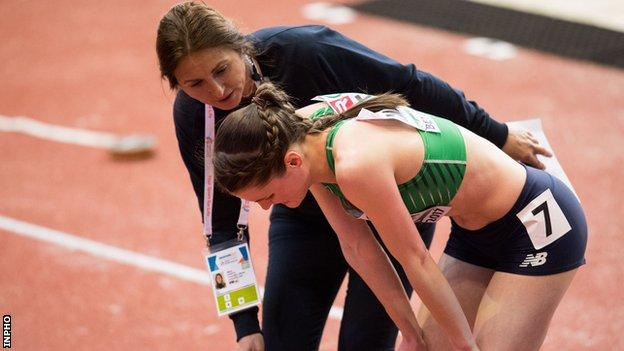 Ciara Mageean was upset after having to step off the track with an Achilles injury