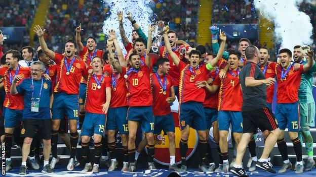 Spain have equalled Italy's record of winning five U21 Euros