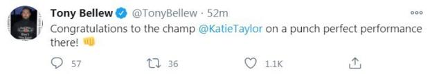 Former world champion Tony Bellew praised Taylor's display and hopes she faces Natasha Jonas next
