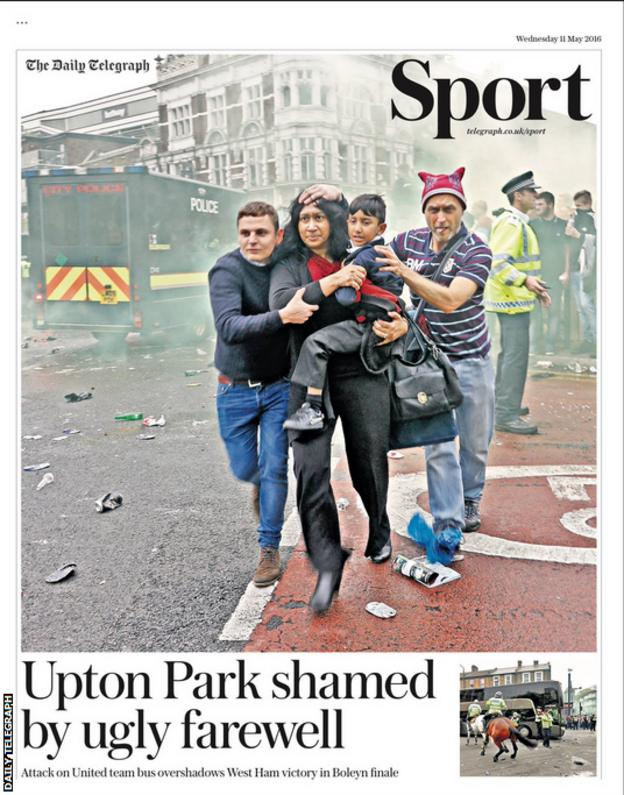 The front page of Wednesday's Daily Telegraph Sport