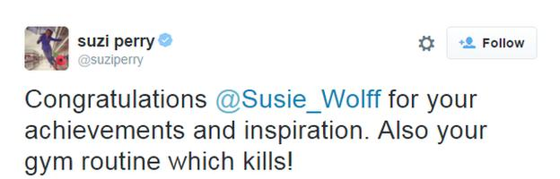 Tweet from Suzi Perry