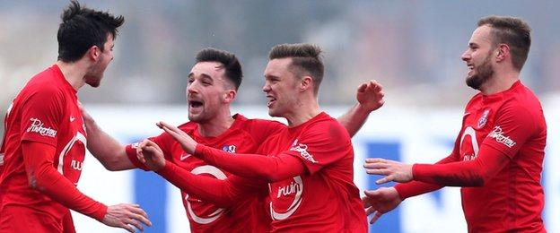 Dale Montgomery scored the first goal in Loughgall's 2-1 win over Premiership top three team Glenavon