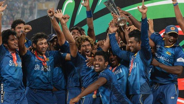 Sri Lanka celebrate winning the World T20