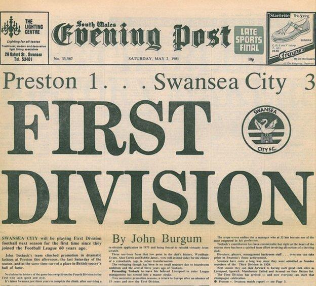 How the South Wales Evening Post reported Swansea's promotion in 1981
