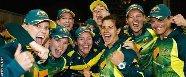 Australia celebrate after regaining the Women's Ashes