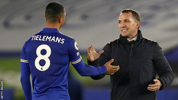 Leicester manager Brendan Rodgers (right) celebrates