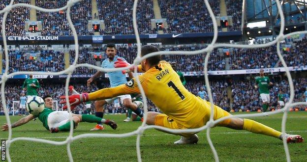 Sergio Aguero scores Man City's second goal