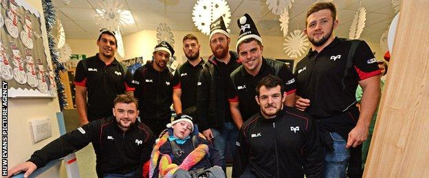 Ospreys players during a visit to the children's ward at Morriston Hospital in Swansea