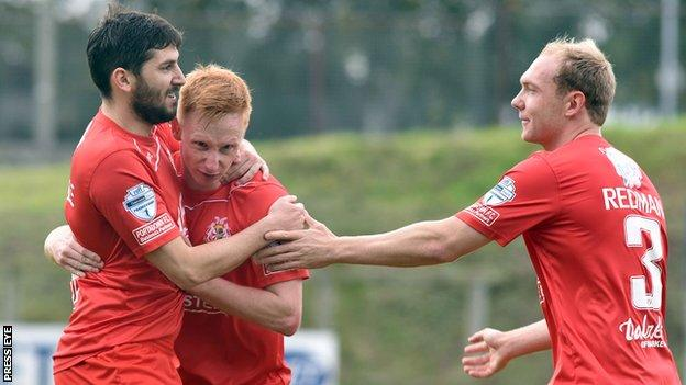 Sean Mackle celebrates after scoring Portadown's second goal against Ballymena