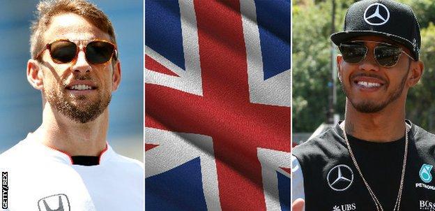Jenson Button, Union Jack flag, Lewis Hamilton