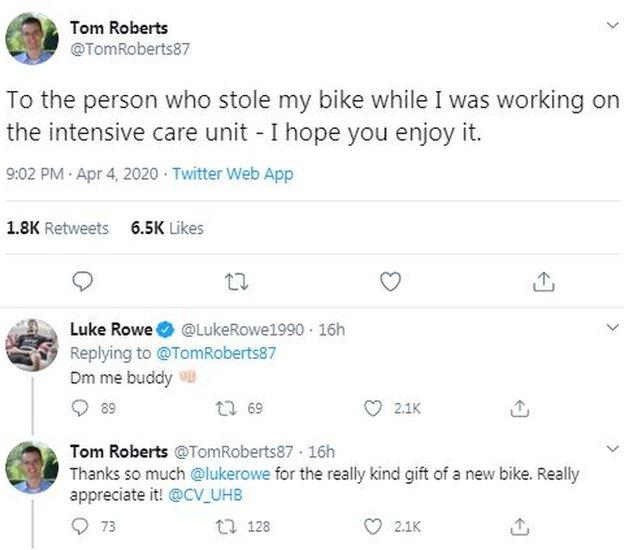 Dr Tom Roberts and Luke Rowe exchange messages