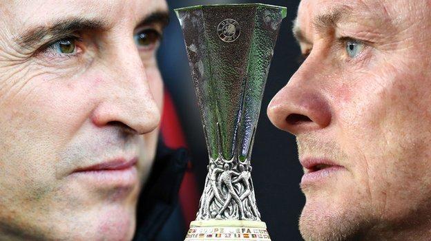 Villarreal boss Unai Emery and Manchester United manager Ole Gunnar Solskjaer