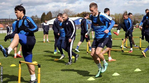 Leicester players wear GPS vests in training to record their every movement